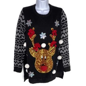 Holiday Time Sequined Christmas Sweater Rudolph